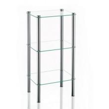 KELA Regál LARS rohový, chróm / sklo, 3. patrový KL-18100