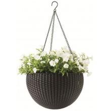 KETER HANGING SPHERE Planter květináč závěsný 35 x 35cm, ratan, hnědá 17199246