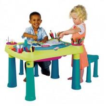 KETER CREATIVE PLAY TABLE stoleček & dvě židličky, zelená/tyrkysová 17184184
