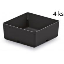 Kistenberg UNITE BOX Sada 4 plastových boxů na nářadí, 11x11x11,2cm, černá KBS1111-S411