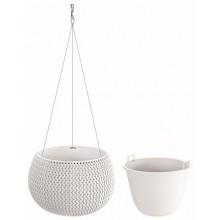 PROSPERPLAST SPLOFY Bowl WS závěsný květináč 29 cm, bílá DKSP290WS