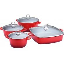 LAMART CERAMIC SADA Keramického nádobí K16202428 set, 8ks, červená, 42000551