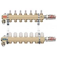 NOVASERVIS rozdělovač s termostatickými ventily, šroubením, průtokoměry, 4 okruhy RZP04