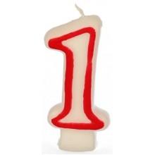 PAPSTAR Narozeninová svíčka - číslice 1 - bílá s červeným okrajem 7,3cm