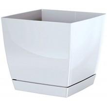 Květináč s miskou COUBI 18 cm, 3,8l, bílá-lesk DUKP180