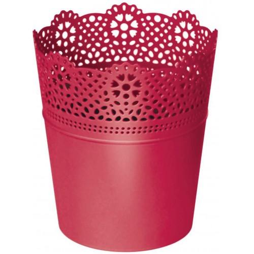 Prosperplast LACE květináč s krajkou 11,2 cm, červená DLAC115