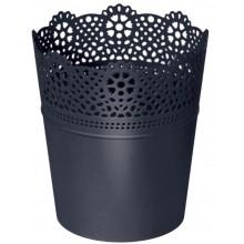 Prosperplast LACE květináč s krajkou 11,2 cm, antracit DLAC115