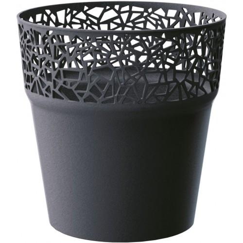 Prosperplast TREE květináč s krajkou 12 cm, antracit DTRE120