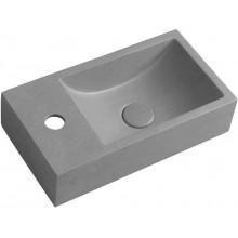 CREST L Betonové umyvadlo včetně výpusti, 40x22cm, levé, šedá žíhaná AR406