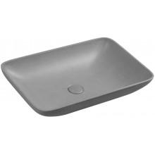 INFRANE Betonové umyvadlo včetně výpusti, 57x37cm, šedá žíhaná AR461