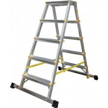 ALVE schůdky oboustranné hliníkové se stabilizátorem, 2x8 příček