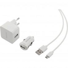 SENCOR KIT SCO 516-000WH USB kabel, nabíječka bílá 1M/WALL/CAR 30015740