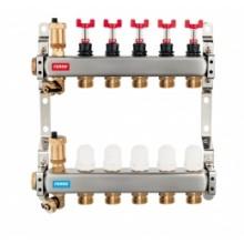 NOVASERVIS Nerezový rozdělovač s průtokoměry a uzavíracími ventily 7 okruhů SN-RZPU07S