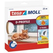 TESA MOLL Gumové těsnění, bílé, na okna a dveře, D profil, 25m 05389-00000-00