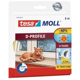 TESA MOLL Gumové těsnění, bílé, na okna a dveře, D profil, 6m 05393-00102-00
