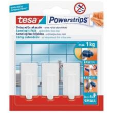 TESA Powerstrips háček obdélníkové malé háček bílý plast, nosnost 1kg 57530-00131-01