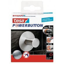 TESA Powerbutton háček CLASSIC, matná nerez ocel, kruhový, nosnost 6kg 59330-00000-00