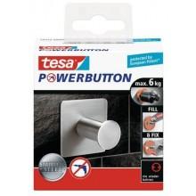 TESAPowerbutton háček CLASSIC, matná nerez ocel, čtvercový, nosnost 6kg 59332-00000-00