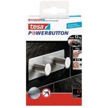 TESA Powerbutton háček CLASSIC dvojháček, matná nerez ocel, obdélníkový, nosnost 12kg 59333-00000-00