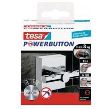 TESA Powerbutton háček DELUXE, lesklý chrom, čtvercový, nosnost 8kg 59341-00000-00