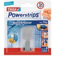 TESA Powerstrips Waterproof háček voděodolný, obdélníkový velký, nerez ocel, nosnost 2kg 59707-00000-01