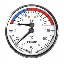 """NOVASERVIS Termomanometr 1/2"""" axiální 0-6 bar, 0-120°C TM63A"""