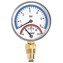"NOVASERVIS Termomanometr 80mm 1/2"" radiální 0-6 bar, 0-120°C TM80R"