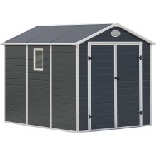G21 Zahradní domek PAH 458 - 241 x 190 cm, plastový, šedý 6390038
