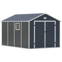 G21 Zahradní domek PAH 882 - 241 x 366 cm, plastový, šedý 6390040