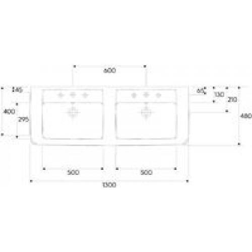 keramag renova nr 1 plan dvojumyvadlo 130 x 48 cm se 2 otvory 122130000. Black Bedroom Furniture Sets. Home Design Ideas