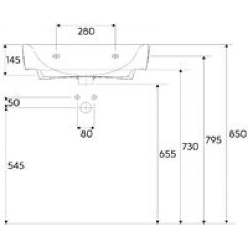 keramag renova nr 1 plan umyvadlo s otvorem 60 x 48 cm 222260. Black Bedroom Furniture Sets. Home Design Ideas