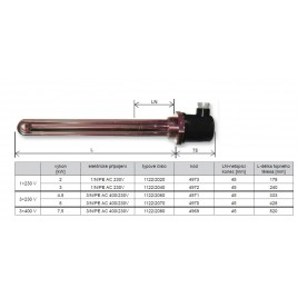 REGULUS topné těleso 3,0 kW, M48 x 2 pro elektrokotle s nuceným oběhem 4972