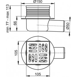 ALCAPLAST Podlahová vpust 105 × 105/50 boční, mřížkanerez APV26