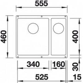 BLANCO Subline 340/160-U dřez Silgranit šedá skála, s táhlem, dřez vpravo 520403