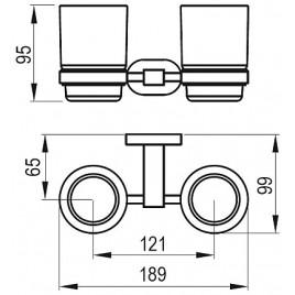 RAVAK Chrome CR 220 dvojdržák se dvěma pohárky (sklo) X07P189