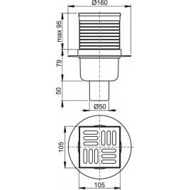 ALCAPLAST podlahová vpust 105 × 105/50 přímá, mřížka nerez APV2