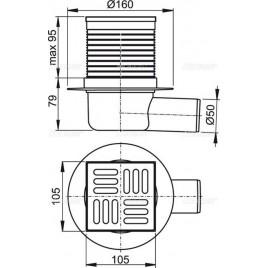 ALCAPLAST Podlahová vpust 105 × 105/50 boční, mřížka nerez APV1