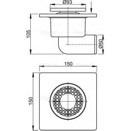 ALCAPLAST Podlahová vpust 150 × 150/50 boční, mřížka šedá APV3