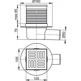 ALCAPLAST Podlahová vpust 105 × 105/50 boční, mřížka nerez APV31