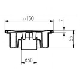 Podlahová vpusť spodní DN 50/55N nerez 320N