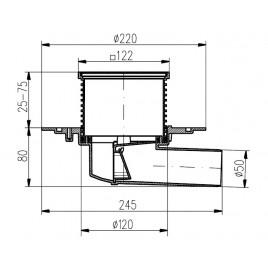 Podlahová vpusť boční univerzální PVBU50PR s přírubou 381B