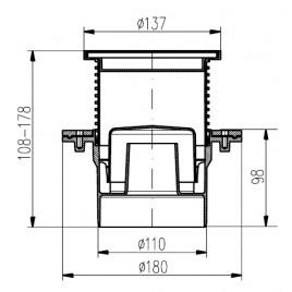 Podlahová vpusť DN 110 (PV110N-PR3) nerez-D137 s přírubou 431