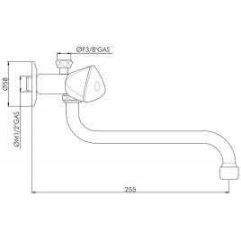 HAKL baterie klasická dřezová, beztlaková, délka ramínka 12 cm, HABAT001