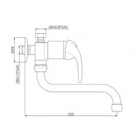 HAKL baterie páková dřezová, beztlaková, výtokové ramínko 15 cm, HABAT019