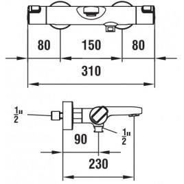 LAUFEN CITYPRO Vanová termostatická nástěnná baterie, bez sprchového příšlušenství
