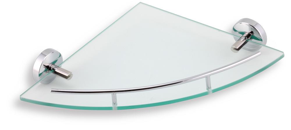 NOVASERVIS METALIA 11 rohová polička se zábradlím sklo/chrom 0158,0