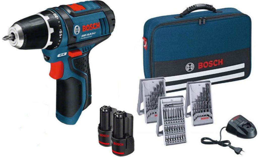 BOSCH GSR 12V-15 Professional Vrtací šroubovák + 25ks sada bitů, 7ks vrtáků do dřeva, 7ks vrtáků do kovu + taška 0615990GB0