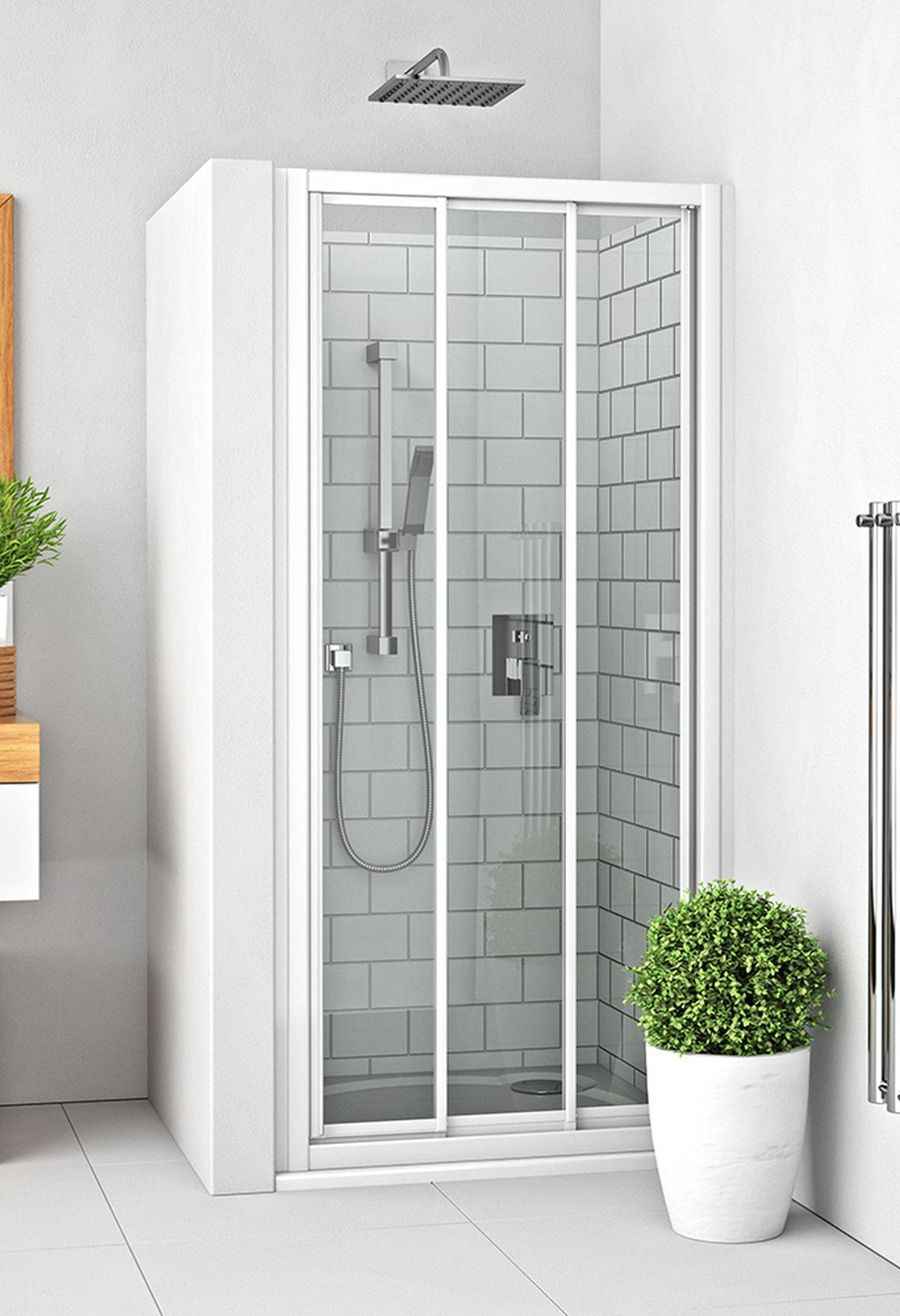ROLTECHNIK Sprchové dveře posuvné s oboustranným vstupem pro instalaci do niky PD3N/1000 bílá/grape 413-1000000-04-11