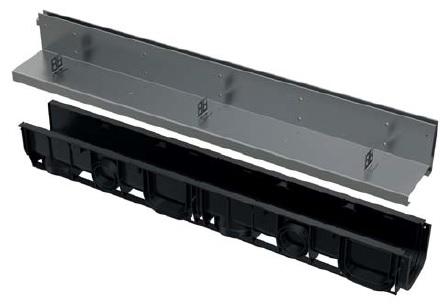 ALCAPLAST Štěrbinový venkovní žlab asymetrický 100 mm z pozinkované oceli AVZ101-R121