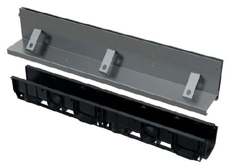 ALCAPLAST Štěrbinový venkovní žlab asymetrický 160 mm z pozinkované oceli AVZ101-R122